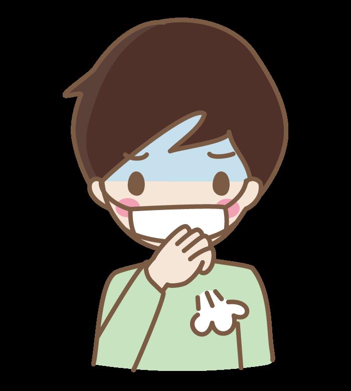 マスクをしながら咳をしている男性のイラスト