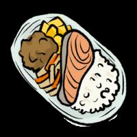 手書き風の鮭弁当のイラスト