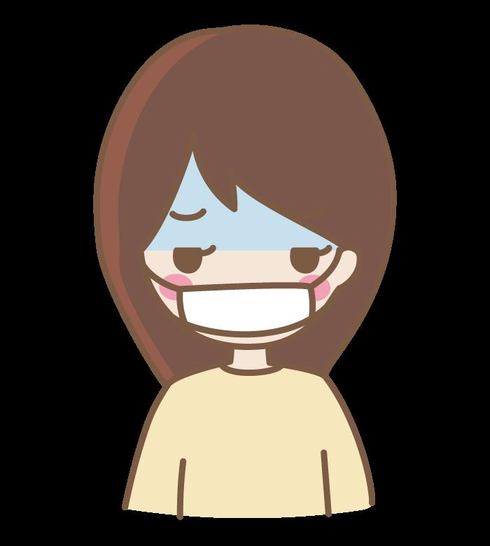 体調不良でマスクをしている女性のイラスト