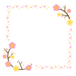 かわいい梅のシンプルなフレーム・飾り枠のイラスト