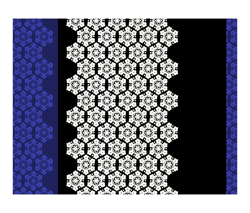 白と紺色の和模様のフレーム・飾り枠のイラスト