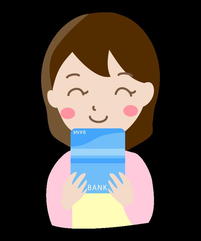 通帳を見て笑顔の主婦のイラスト