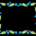 青い花と蔦のフレーム・飾り枠のイラスト