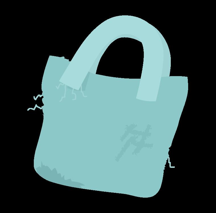 ボロボロのバッグのイラスト