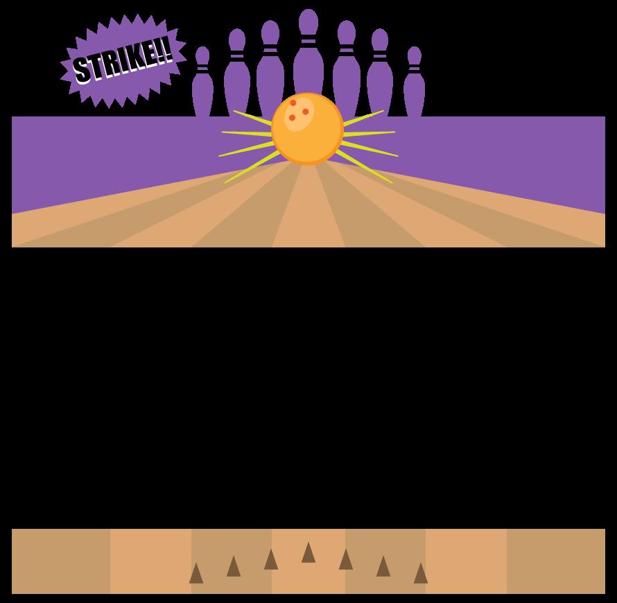 ボウリングのストライクのフレーム・飾り枠のイラスト
