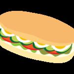 コッペパンのサンドウィッチのイラスト