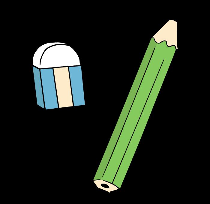 鉛筆と消しゴムのイラスト