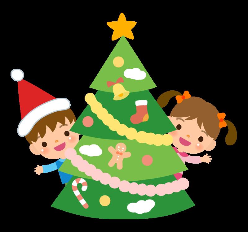 クリスマスツリーの飾り付けをする子どものイラスト