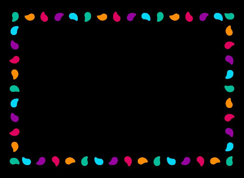 カラフルな模様・デザインのフレーム・飾り枠のイラスト