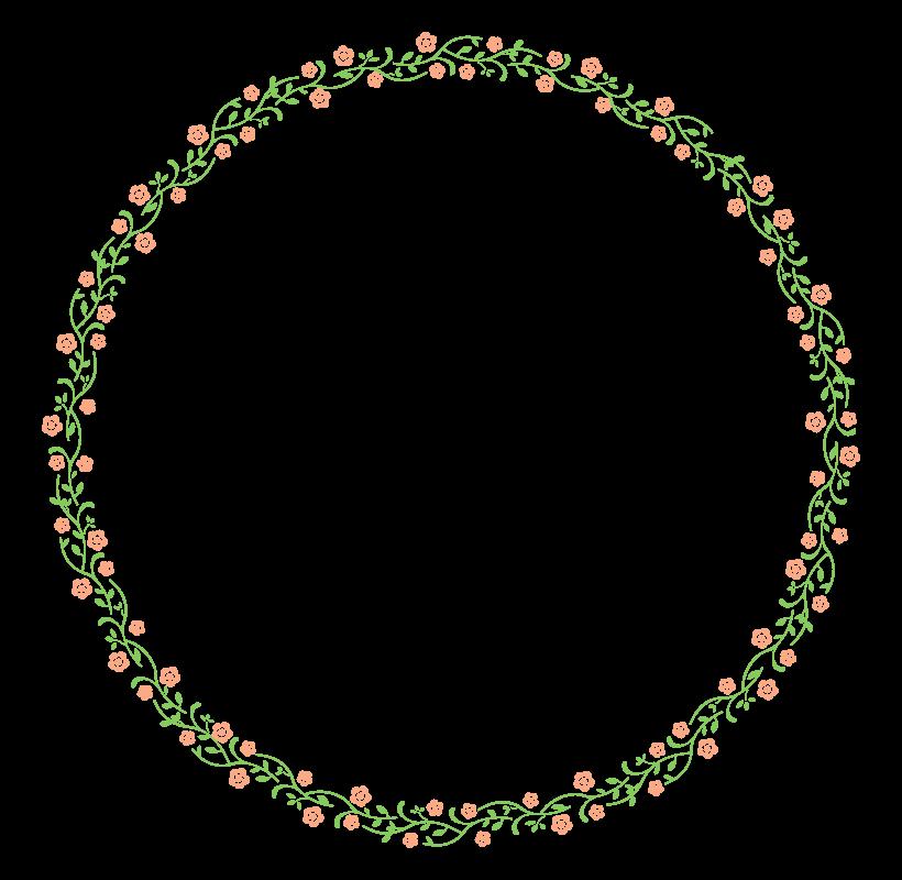 かわいいサークルの花のフレーム・飾り枠のイラスト