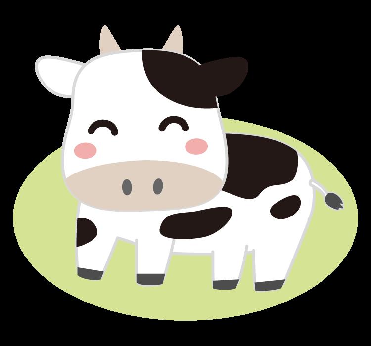 笑っているかわいい牛のイラスト