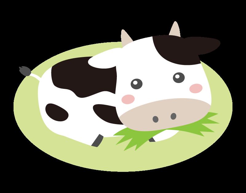草を食べているかわいい牛のイラスト