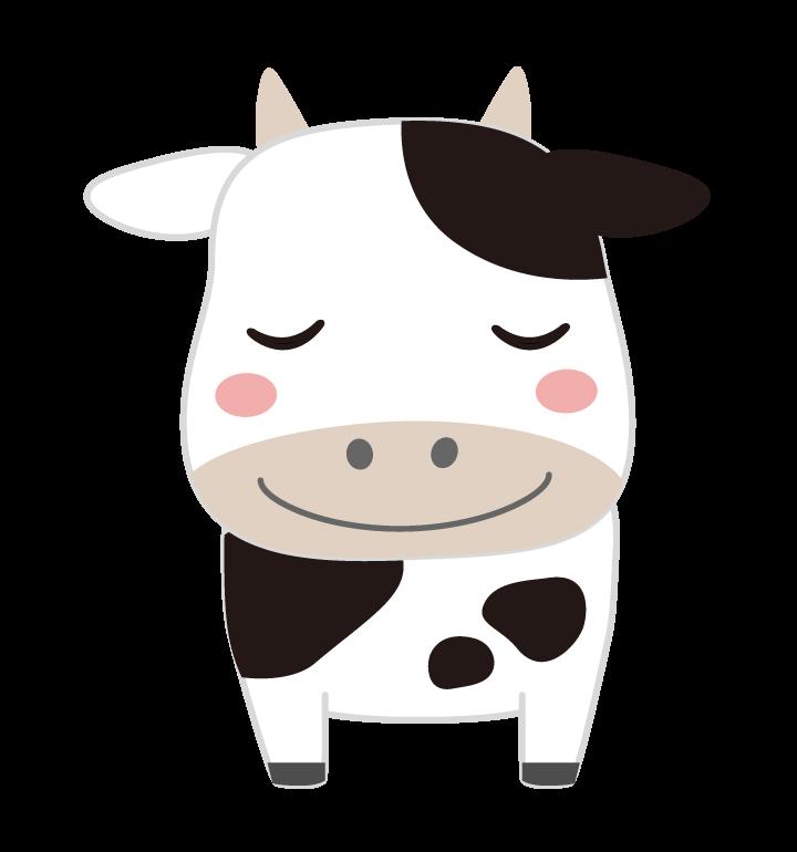 ニッコリしているかわいい牛のイラスト