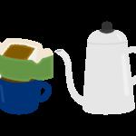 ドリップコーヒーとポットのイラスト