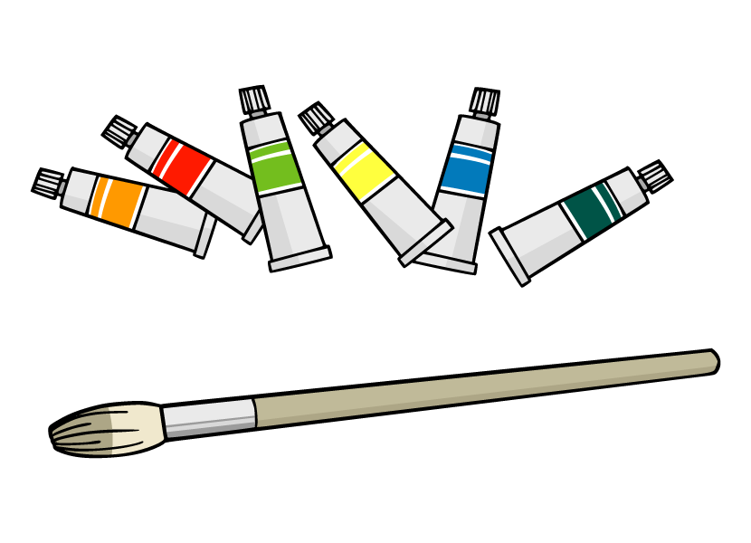 絵具と絵筆のイラスト