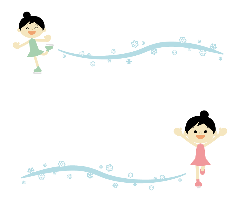 子どものフィギュアスケートのフレーム・飾り枠のイラスト