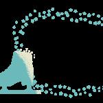 フィギュアスケートの靴と星のフレーム・飾り枠のイラスト