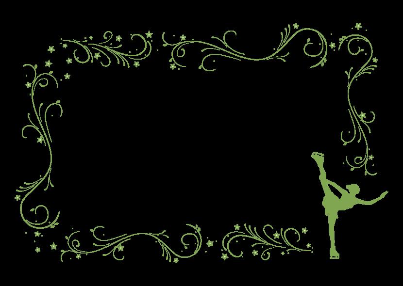 フィギュアスケートのシルエットのフレーム・飾り枠のイラスト