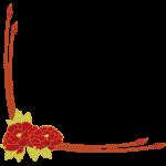 牡丹の花の和風フレーム・飾り枠のイラスト