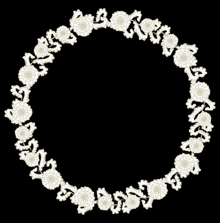 花のサークルフレーム・飾り枠のイラスト
