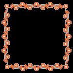 赤い花のシンプルなフレーム・飾り枠のイラスト