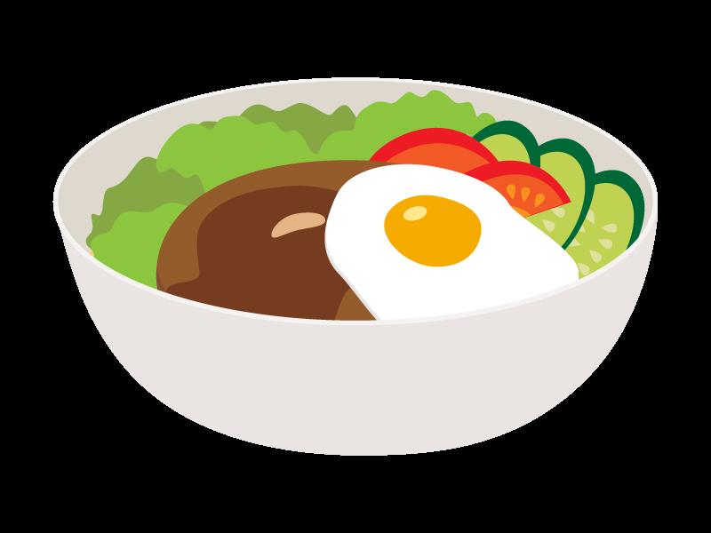 ロコモコ丼のイラスト