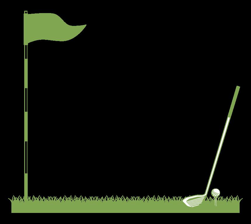 旗とドライバーのゴルフのフレーム・飾り枠のイラスト