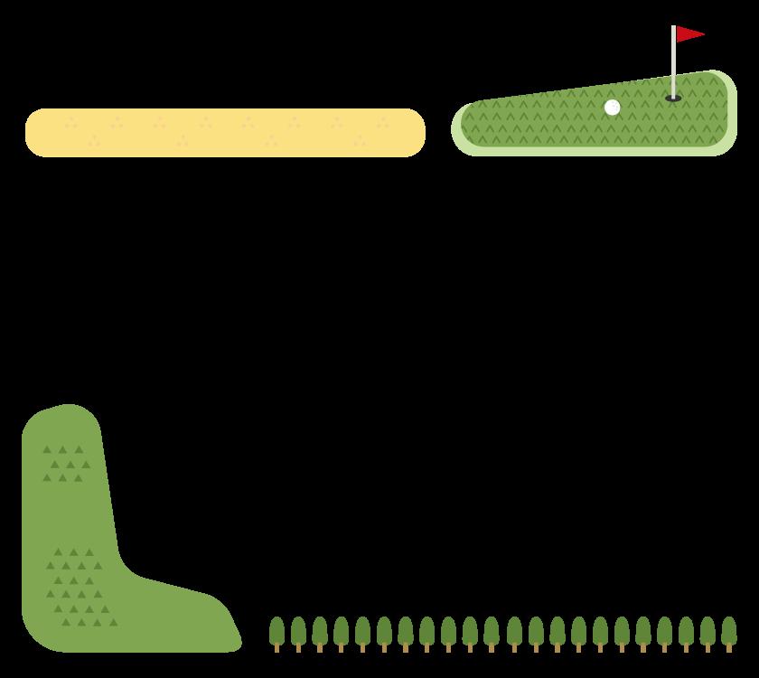 ゴルフコースのフレーム・飾り枠のイラスト