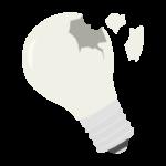 割れた電球のイラスト