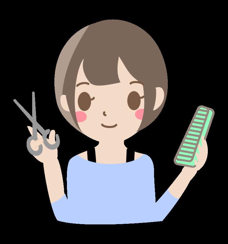 若い女性の美容師さんのイラスト