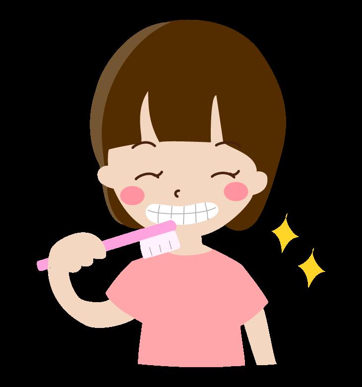 歯磨きをしている女の子のイラスト