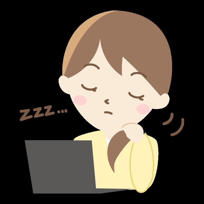 仕事中に寝てしまう女性会社員のイラスト