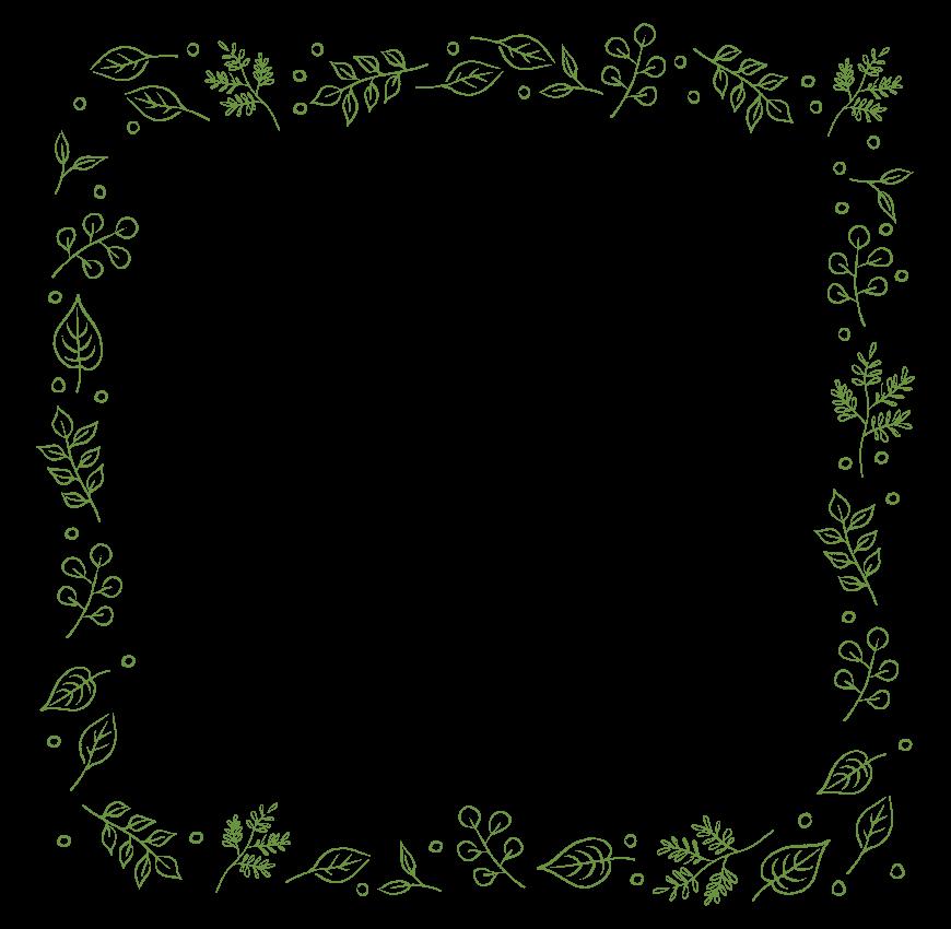 手書き風の葉っぱのフレーム・飾り枠のイラスト