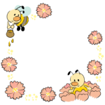 ミツバチと花のフレーム・飾り枠のイラスト