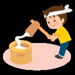 お餅つきをする男の子のイラスト
