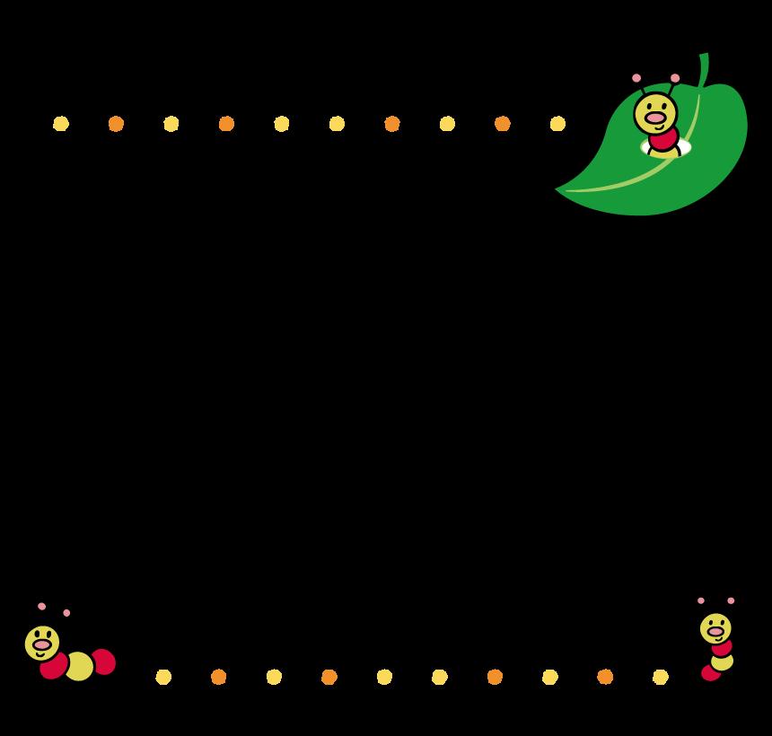 虫と葉っぱのフレーム・飾り枠のイラスト