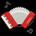 アコーディオンと音符のイラスト