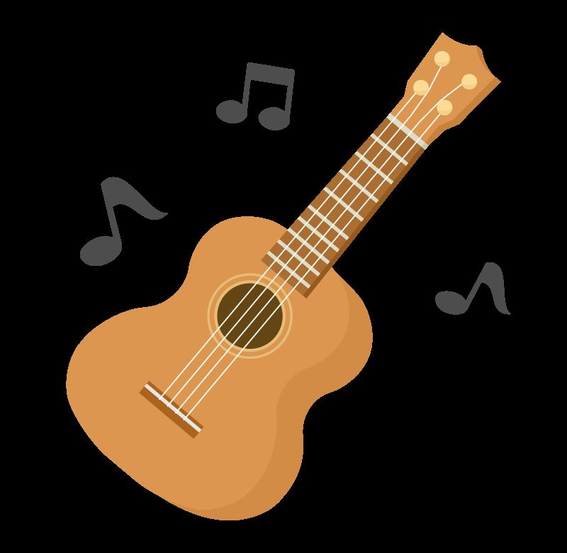 ウクレレと音符のイラスト