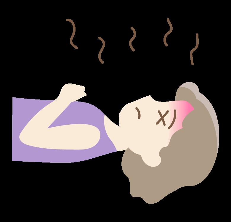 熱中症・のぼせで倒れているイラスト