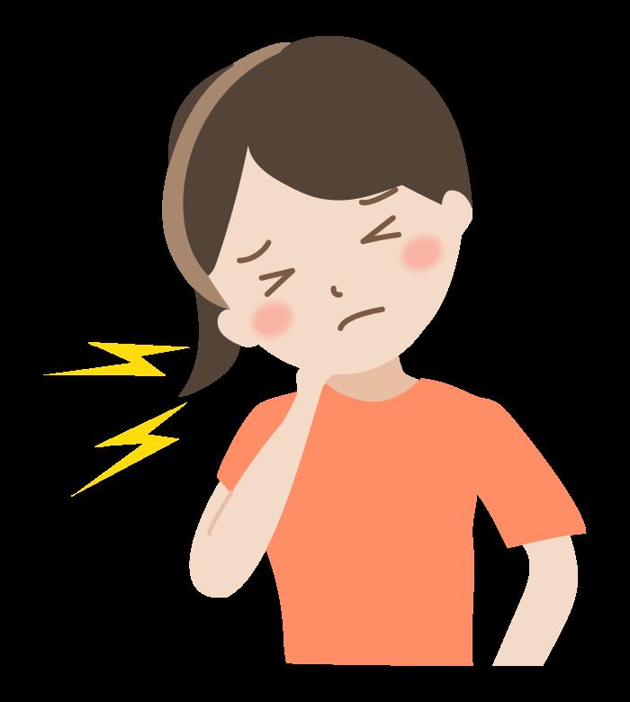 首の痛み(女性)のイラスト