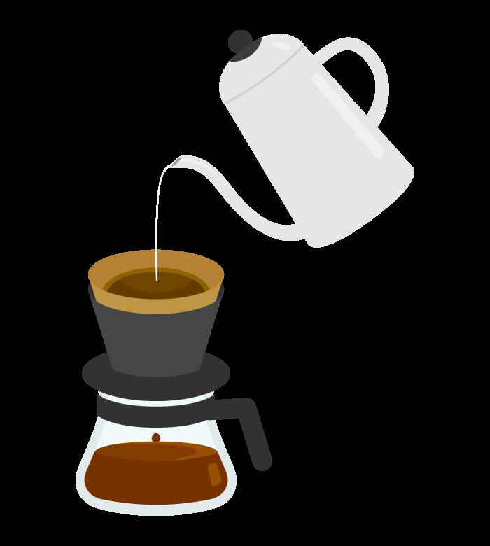ペーパードリップコーヒーとポットのイラスト