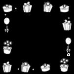 プレゼント・ギフトの白黒のフレーム・飾り枠のイラスト