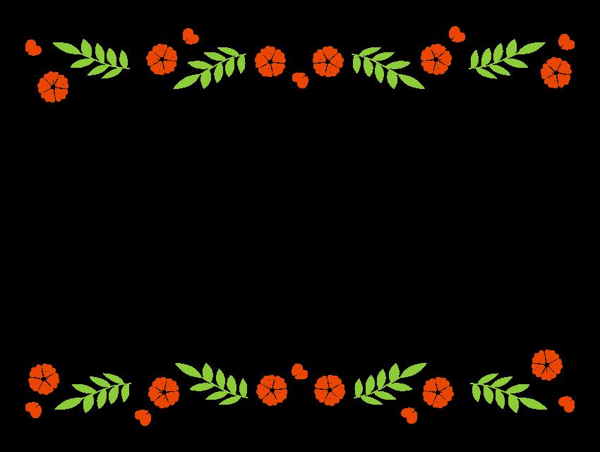赤い花と蔦の上下フレーム・飾り枠のイラスト