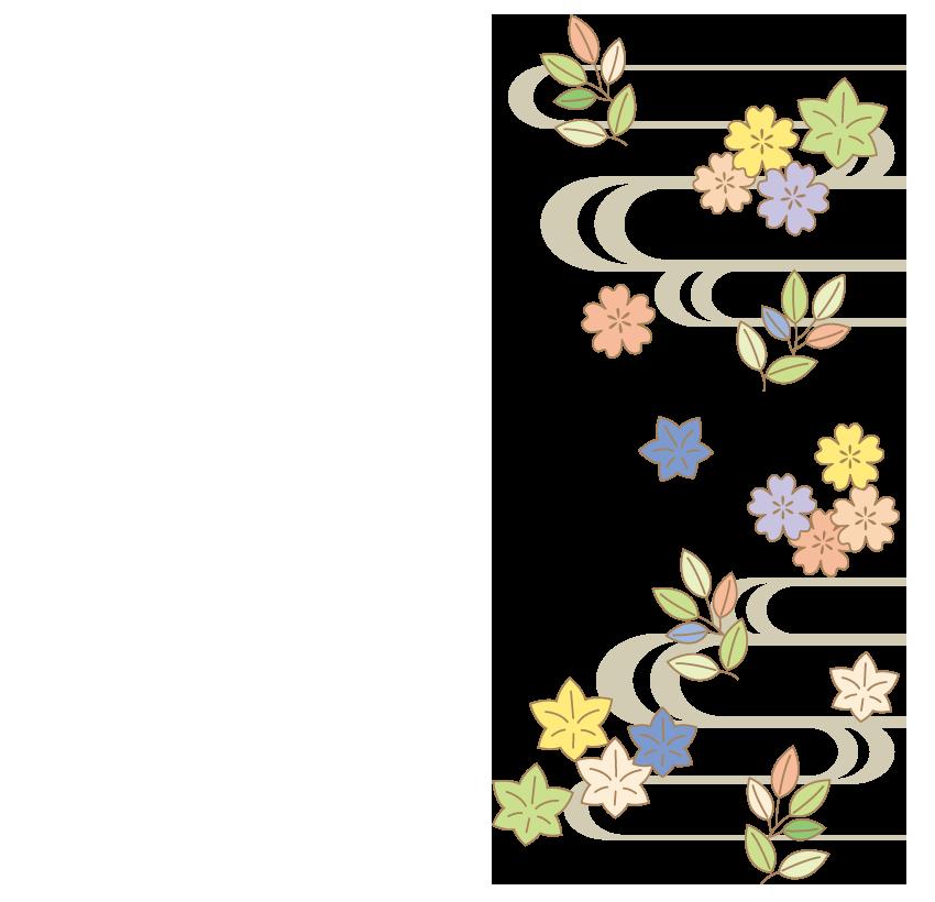 花や植物の和模様のフレーム・飾り枠のイラスト