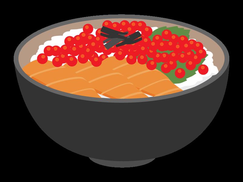 サーモンといくらの海鮮丼のイラスト