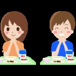 小学校の給食の「いただきます」のイラスト