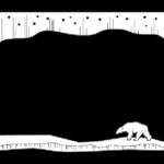 白くまの白黒のフレーム・飾り枠のイラスト