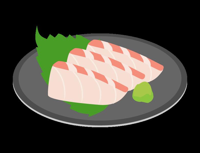 白身魚のお刺身のイラスト