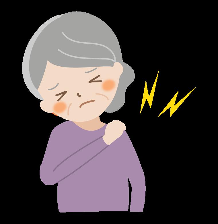 高齢者の肩の痛みのイラスト