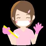 歯磨きのレクチャーをする歯科衛生士さんのイラスト